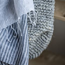 Luxurious Handmade linen shawl- Navy and White