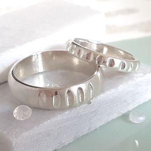 His And Hers Handmade Silver Notch Rings - rings