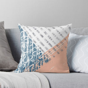 Blue, Grey And Blush Modern Cushion