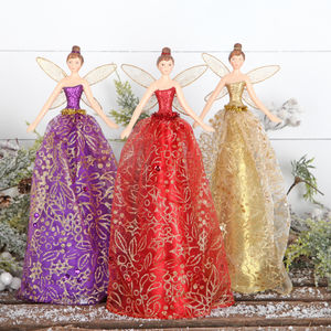 Christmas Tree Topper Angel Purple, Red Or Gold Fairy - tree toppers