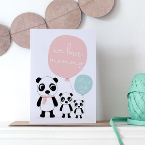 Personalised Mummy Valentine's Card With Cute Pandas