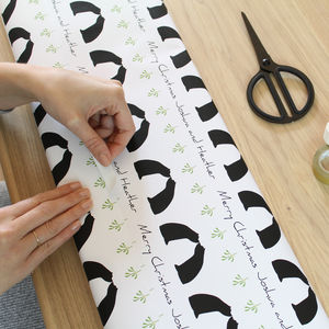 Personalised Bear Couple Mistletoe Wrapping Paper