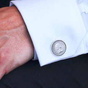 Hallmarked Silver Lucky Sixpence Cufflinks - personalised jewellery