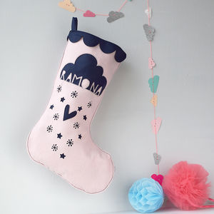Personalised Snow Cloud Christmas Stocking - stockings & sacks