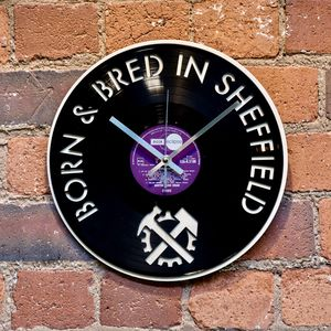 'Born And Bred In Sheffield' Vinyl Record Clock - home accessories