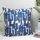 Paloma Feather Cushion, Blue Brushstroke Design