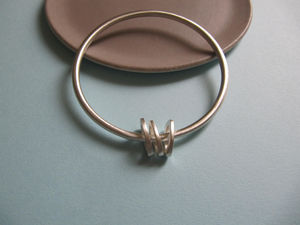 Infinity Bangle With Three Silver Oval 'charms'