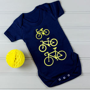 Personalised Babygrow With Bike Print - babygrows