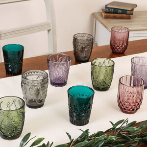 Set Of Four Vintage Embossed Tumblers