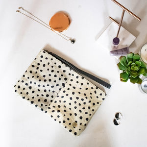 Classic Clutch Bag In Spotted Print Pony Hair