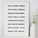 Life Is Short Mae West Quote A3 Wooden Plaque