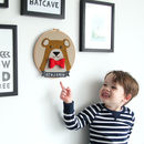 Personalised Bear Embroidered Children's Wall Hanging
