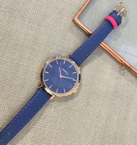 Montmartre Royal Blue And Hot Pink Leather Watch - watches