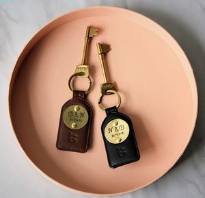 Mr And Mrs Special Date Luxury Leather Keyrings