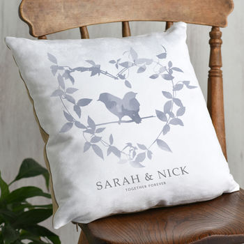 Botanical Heart and Birds Couples Cushion from Letterfest