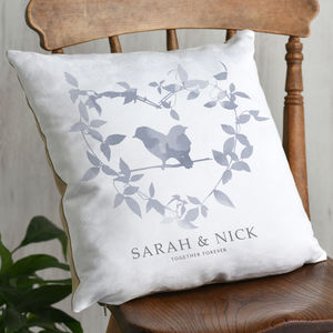 Botanical Heart And Birds Couples Cushion