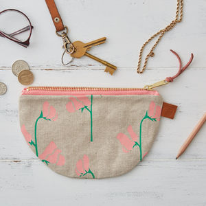 Sweet Peas Half Moon Linen Purse