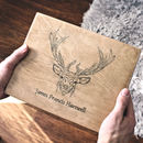 Personalised Wooden Stag Cufflink And Watch Box
