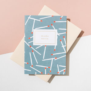 'Perfect Match' Card, Vellum White Envelope