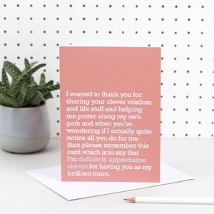 'Definitely Appreciative Always' Mum Card - wedding thank you gifts