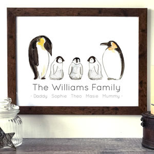 Personalised Family Penguin Print - children's room