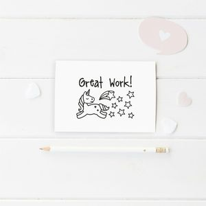 'Great Work' Unicorn Wooden Stamp Teacher Gift - unicorns
