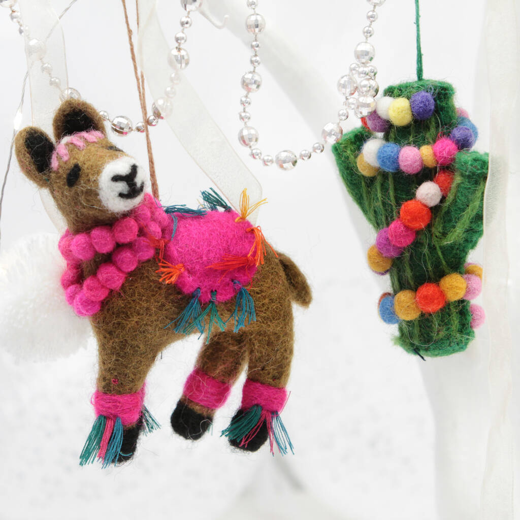Llama Christmas Decorations.Personalised Llama Felt Christmas Decoration