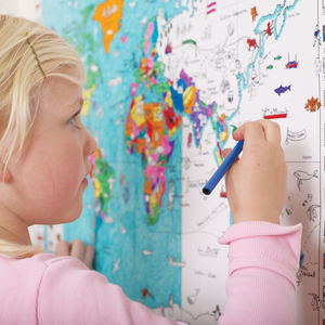 Colour In World Map Poster And Pens - stocking fillers for babies & children