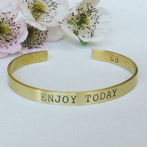 Enjoy Today Brass Bangle - more