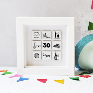 Personalised Illustrated Nine Tile Birthday Frame