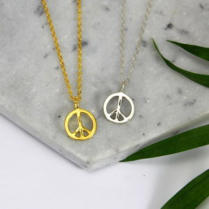 Sterling Silver And Gold Peace Charm Necklace