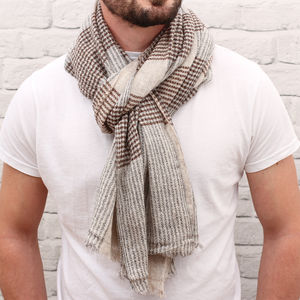 Men's Personalised Checked Cashmere Mix Scarf