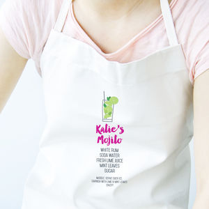 Personalised Mojito Cocktail Recipe Apron - what's new