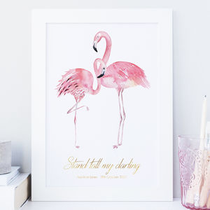 'Stand Tall' Personalised Flamingo Nursery Print