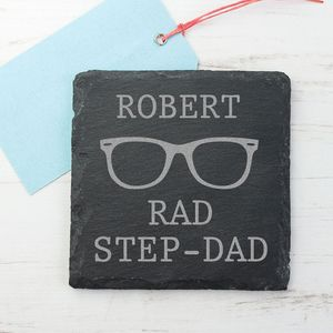 'Rad Step Dad' Personalised Square Slate Keepsake - kitchen