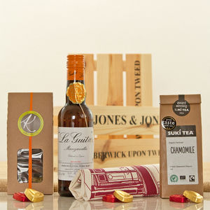 Chamomile Tea And Manzanilla Sherry Hamper Crate - hampers