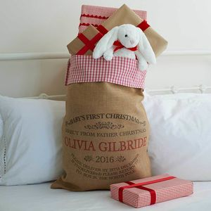Personalised Baby's 1st Christmas Sack With Gingham Top - stockings & sacks