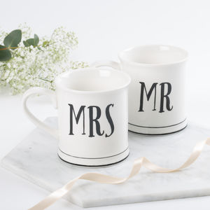 Mr And Mrs Vintage Style Ceramic Mugs - mugs
