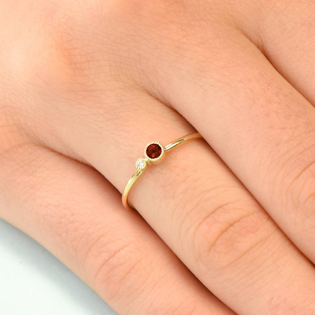 9d91608505caf2 garnet stacking ring, diamond accent, solid 18ct gold by lilia nash ...