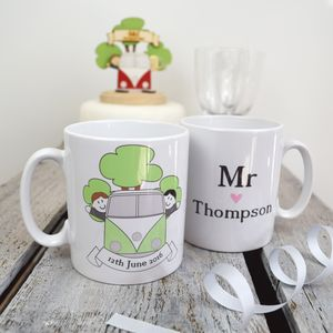 Personalised Mr And Mr Wedding Day Mug Set