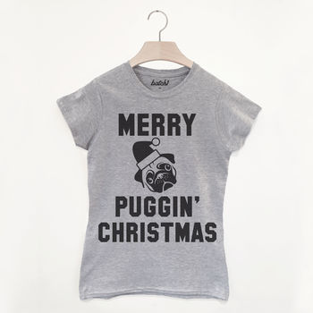 Merry Puggin' Christmas Women's Pug Slogan T Shirt