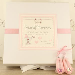 New Baby Personalised Vintage Keepsake Box - winter sale