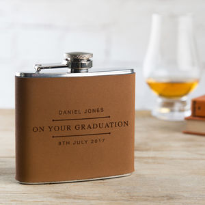 Graduation Gift Personalised Leather Hip Flask - graduation gifts