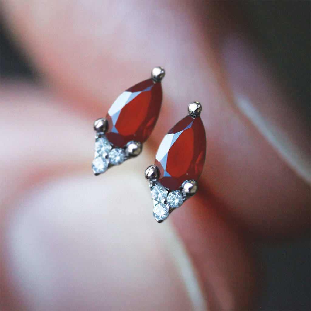 Pear Drop Garnet Sterling Silver Or Gold Earrings by Regalrose