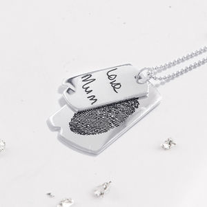 Memorial Silver Ashes Double Dog Tag Necklace And Chain