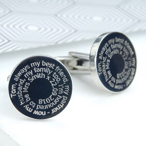 Personalised Message Round Cufflinks