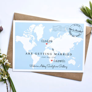 Wedding Location Heart Map Invitation - wedding stationery