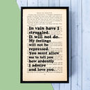 Pride And Prejudice Quote Wall Art Wedding Gift
