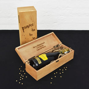 'Prosecco Ho Ho Ho' Wine And Champagne Gift Box - cards & wrap