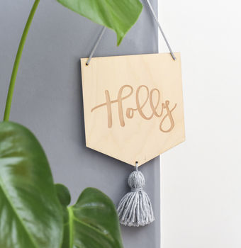 Personalised Wooden Name Sign Banner